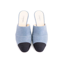 Cap Toe Denim Mules
