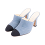 Authentic Second Hand Chanel Cap Toe Denim Mules (PSS-643-00011) - Thumbnail 3