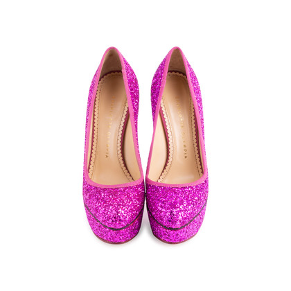 Authentic Second Hand Charlotte Olympia Priscilla Glitter Platform Pumps (PSS-643-00012)