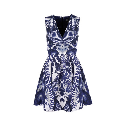 Authentic Second Hand McQ Alexander Mcqueen Abstract Print Skater Dress (PSS-486-00053)