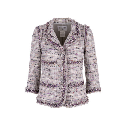 Authentic Second Hand Chanel Multicoloured Fringe-Trimmed Tweed Jacket (PSS-575-00047)