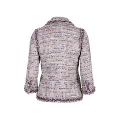 Chanel multicoloured fringe trimmed tweed jacket 2?1555409276