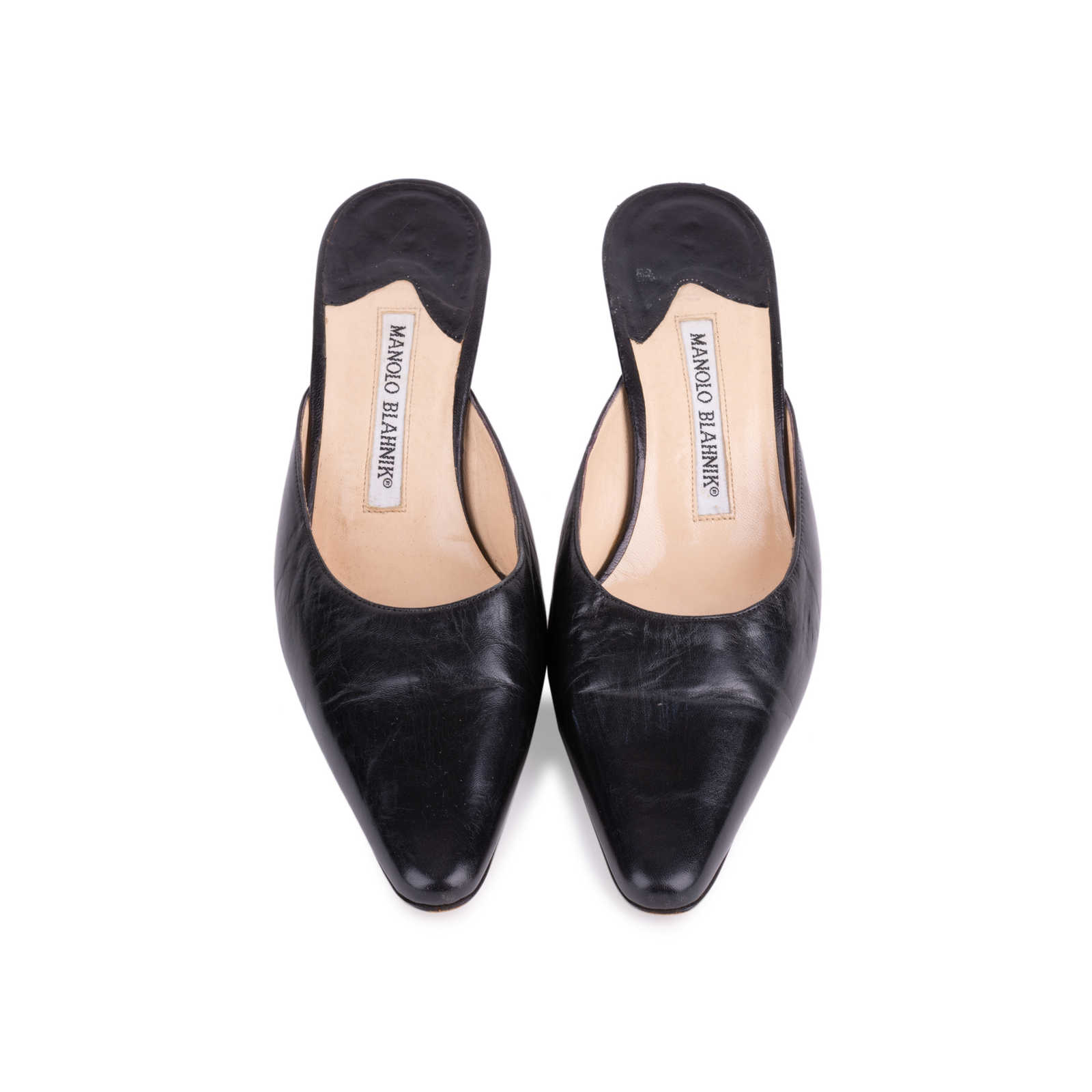 86944b12db8c8 Authentic Second Hand Manolo Blahnik Pointed Leather Mules (PSS-642-00001)  ...