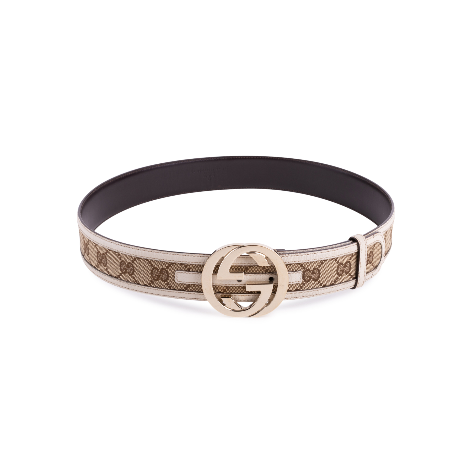 f5f5e42da Authentic Second Hand Gucci Monogram Leather Belt (PSS-647-00006) - THE  FIFTH COLLECTION