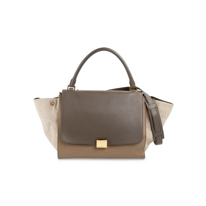 Authentic Second Hand Céline Leather and Canvas Trapeze Bag (PSS-648-00011)