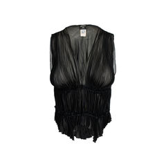 Pleated Silk Sheer Vest
