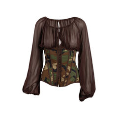 Camouflage Bustier Blouse