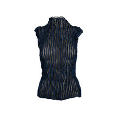 Black and Blue Pleated Top