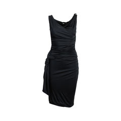 Draped Jersey Dress with Crystals