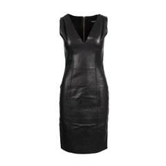 V-Neck Leather Dress
