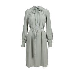 Tie Front Belted Silk Dress