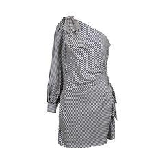 Striped One Shoulder Ruched Dress