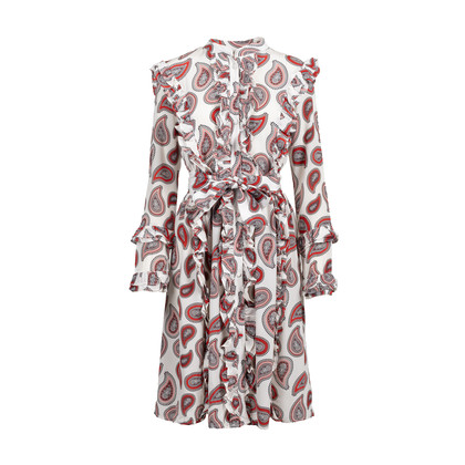 Authentic Second Hand Dodo Bar Or Jaeger Ruffled Paisley Silk Dress (PSS-424-00163)