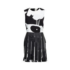 Faux Leather Pleated Print Dress