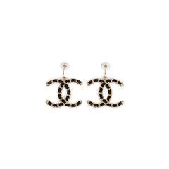 Satin Chain Logo Earrings