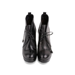 Leather Lace Up Heel Boots