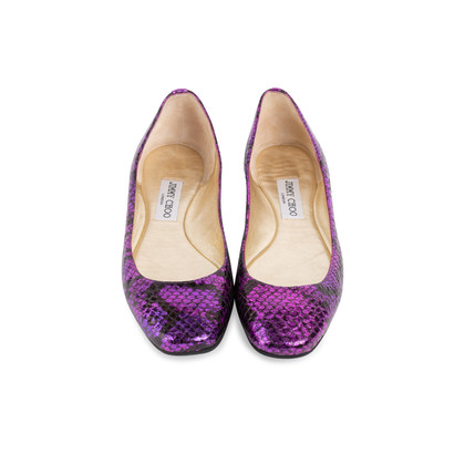Authentic Second Hand Jimmy Choo Faux Snakeskin Flats (PSS-552-00047)