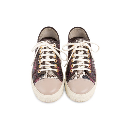 Authentic Second Hand Chanel Burgundy Grey Python Leather Sneakers (PSS-688-00004)