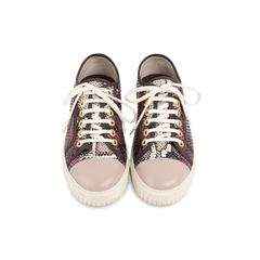 Burgundy Grey Python Leather Sneakers