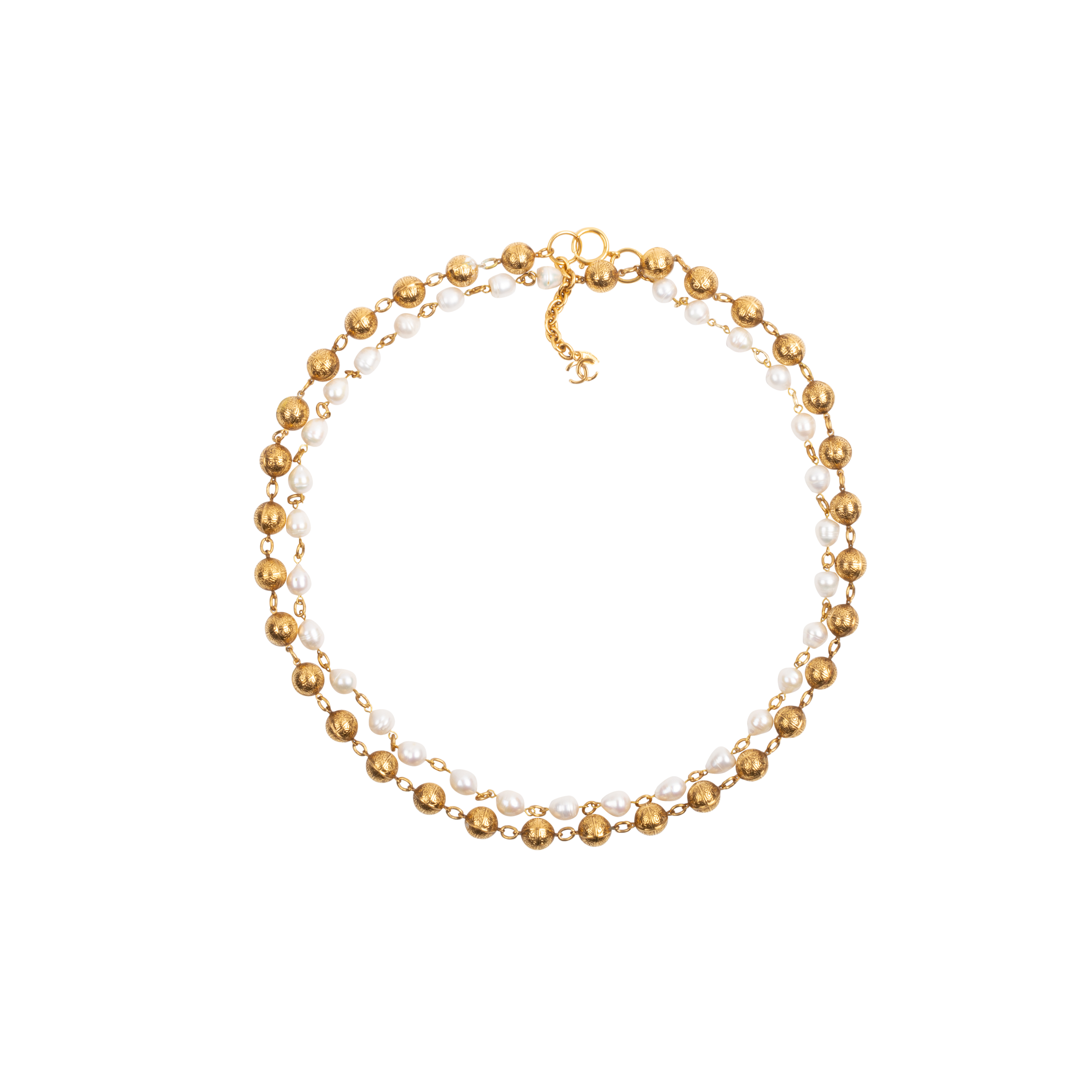68cb7097776 Authentic Vintage Chanel Pearl and Chain Link Necklace (TFC-852-00008) -  THE FIFTH COLLECTION
