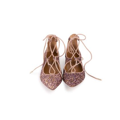 Authentic Second Hand Aquazzura Christy Pink Glitter Flats (PSS-697-00006)
