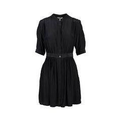 Silk Gathered Shirt Dress