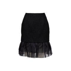 Wool Blend Ruffle Hem Skirt