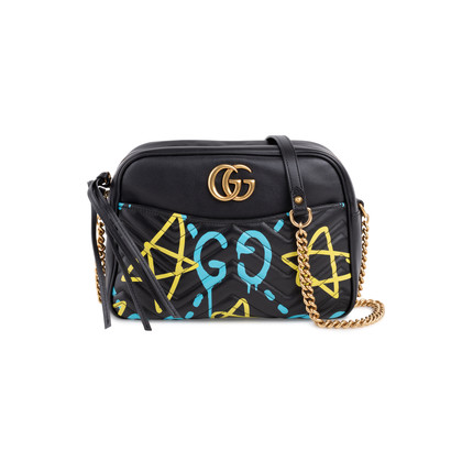 12bd8f301 Authentic Second Hand Gucci Ghost GG Marmont Graffiti Leather Shoulder Bag  (PSS-057-