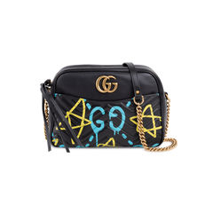 Ghost GG Marmont Graffiti Leather Shoulder Bag