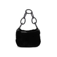 Ring Handle Fur Shoulder Bag