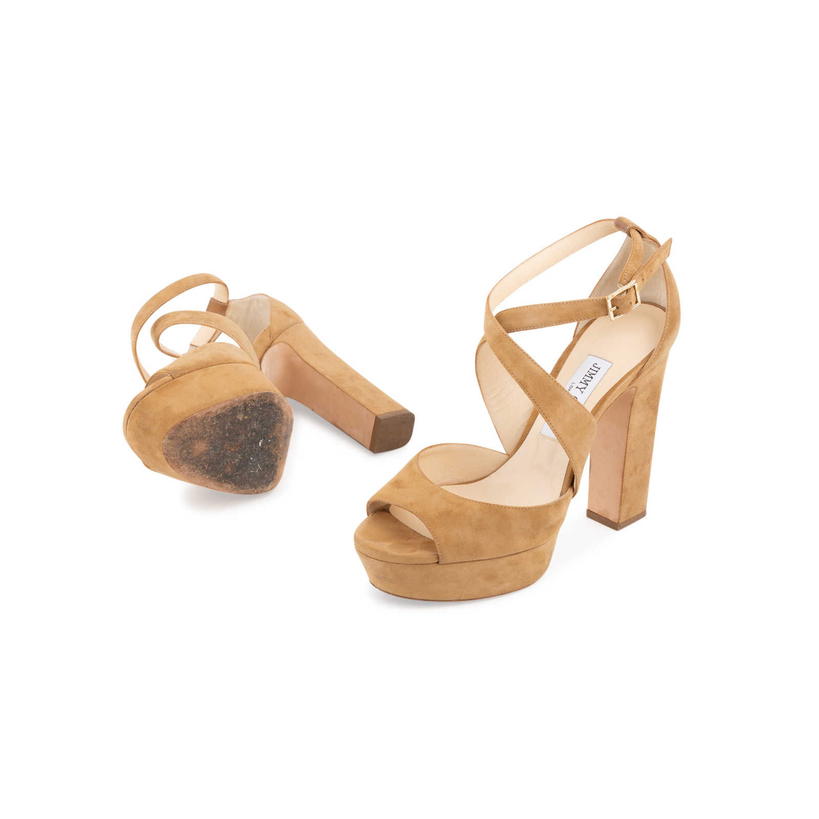 3103d354ca9f5 ... Authentic Second Hand Jimmy Choo April Suede Crisscross Sandals  (PSS-097-00199) ...