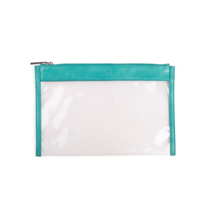 Authentic Second Hand Jil Sander Leather-Trimmed PVC Clutch (PSS-017-00019)
