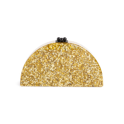 Authentic Second Hand Edie Parker Gold Confetti Semicircle Clutch (PSS-690-00042)
