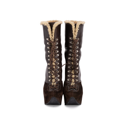 Authentic Second Hand Yves Saint Laurent Shearling Wool Wedge Booties (PSS-715-00020)