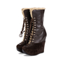 Authentic Second Hand Yves Saint Laurent Shearling Wool Wedge Booties (PSS-715-00020) - Thumbnail 1