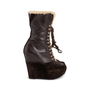 Authentic Second Hand Yves Saint Laurent Shearling Wool Wedge Booties (PSS-715-00020) - Thumbnail 2