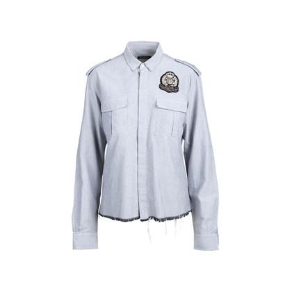 Authentic Second Hand Balmain Logo Patch Denim Shirt (PSS-074-00184)