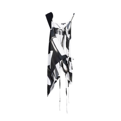Authentic Second Hand Ann Demeulemeester Spring 2011 Wrap Printed Top (PSS-676-00028)