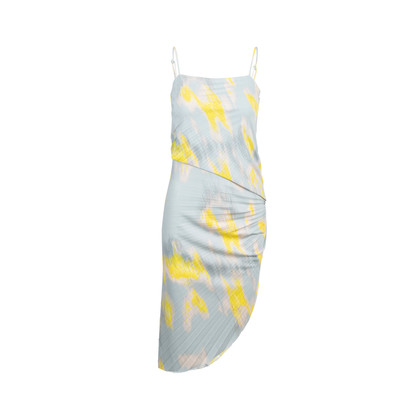 Authentic Second Hand Halston Heritage Asymmetric Printed Pleat-Detail Dress (PSS-693-00008)