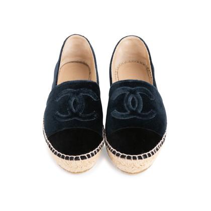 Authentic Second Hand Chanel Velvet 'CC' Cap Toe Espadrilles (PSS-143-00125)