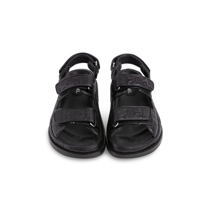 Authentic Second Hand Chanel Leather Velcro Sandals (PSS-610-00014)