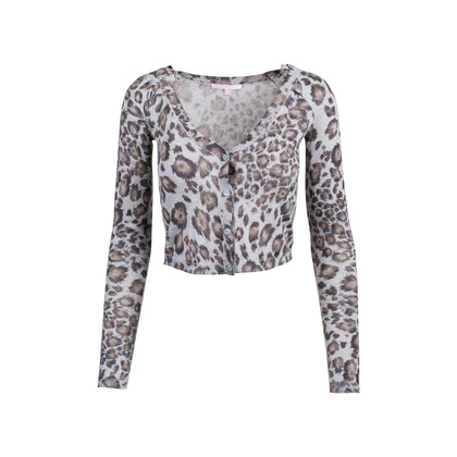 Authentic Second Hand Rebecca Taylor Leopard Print Crop Cardigan (PSS-340-00320)