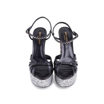 Authentic Second Hand Saint Laurent Candy Python and Ponyhair Platform Sandals (PSS-370-00113)