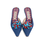 Authentic Second Hand Manolo Blahnik Denim Embellished Mules (PSS-726-00005) - Thumbnail 0
