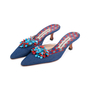 Authentic Second Hand Manolo Blahnik Denim Embellished Mules (PSS-726-00005) - Thumbnail 2