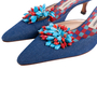 Authentic Second Hand Manolo Blahnik Denim Embellished Mules (PSS-726-00005) - Thumbnail 4