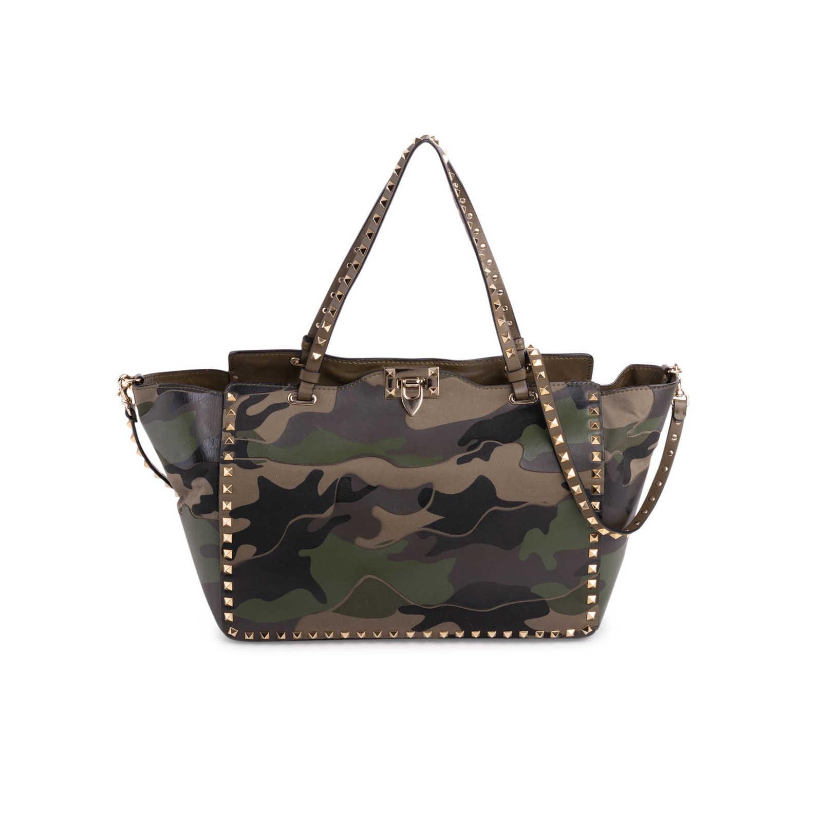 Valentino Camo Rockstud Medium Tote Bag