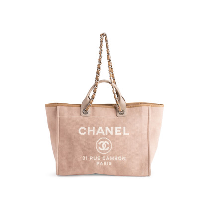 Authentic Second Hand Chanel Deauville Canvas Tote (PSS-606-00061)