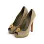 Authentic Second Hand Alexander McQueen Suede Peep Toe Skull Pumps (PSS-741-00016) - Thumbnail 1