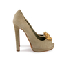 Authentic Second Hand Alexander McQueen Suede Peep Toe Skull Pumps (PSS-741-00016) - Thumbnail 2